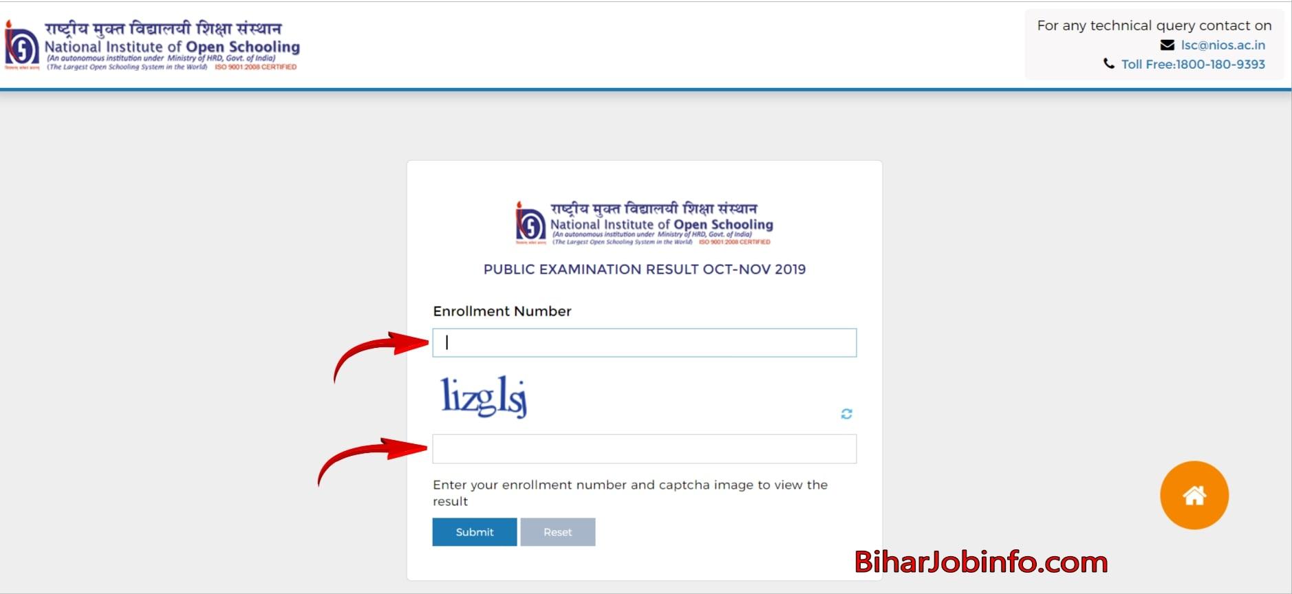 NIOS 10th & 12th Result Download Form